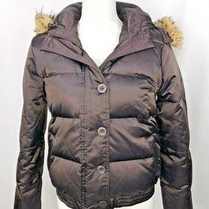 Old Navy Brown Puff Jacket Fur Hood L